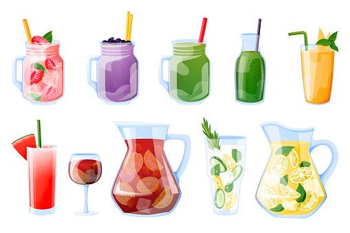 Summer tropical beverages vector illustration. Smoothie, fresh juice, sangria, lemonade beach bar menu design elements