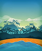 Vector illustration of a cartoon summer tropical beach ocean background with palm trees, coconuts, and cloudscape upon blue morning sky. File is EPS10 and uses multiply transparency and overlay transparency. Vector eps and high resolution jpeg files included