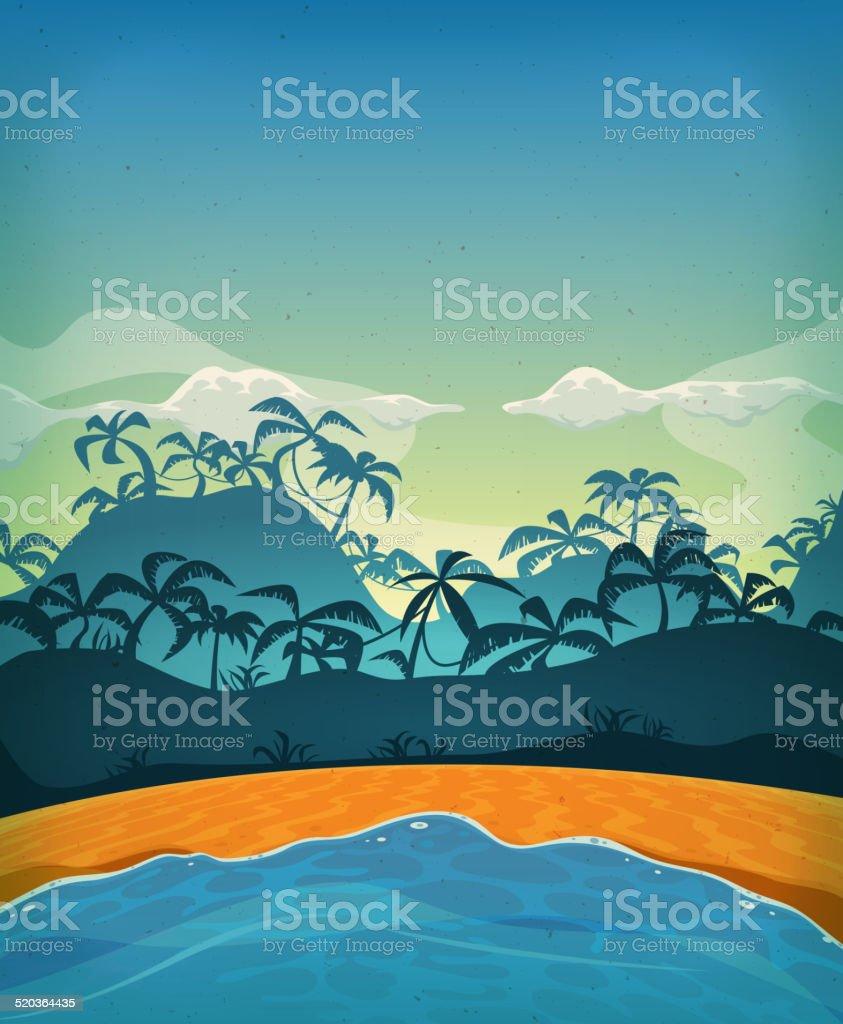Summer Tropical Desert Island vector art illustration