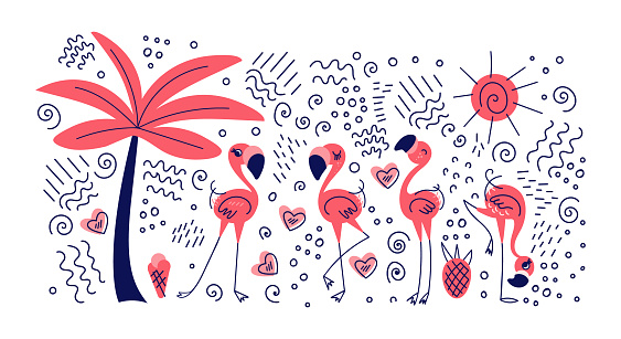 Summer tropical doodle collection