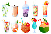 Summer tropical drinks collection, isolated on white background. Vector cartoon illustration. Bubble tea, lemonade, alcoholic and nonalcoholic cocktails glasses. Beach bar menu design elements set