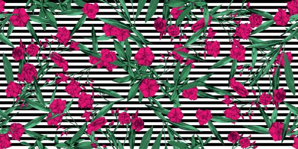 Patrón floral tropical de verano sobre el fondo de rayas blancas y negras - rosa, verde, blanco y negro patrón sin costuras para textiles, fondos, papel - vector - ilustración de arte vectorial