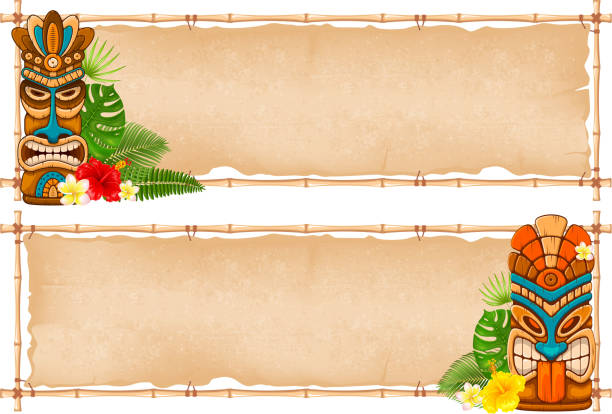 Summer tropical frame design Summer tropical bamboo frame design with Tiki mask, exotic leaves and flowers. Vector illustration. Isolated on white background. beach borders stock illustrations