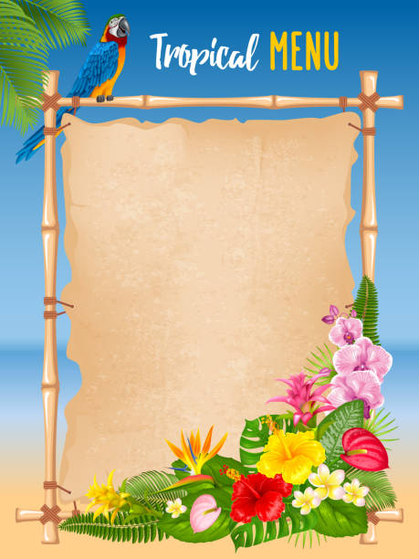 Summer tropical frame design Summer tropical design with bright exotic leaves, flowers and ara parrot on sea beach background. Vector illustration. beach borders stock illustrations