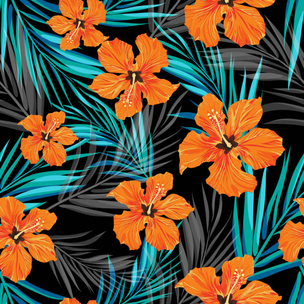 Summer tropical hawaiian background with palm tree leaves and exotic Summer tropical hawaiian sale background with palm tree leaves and exotic flowers, space for text, vector illustration. hawaiian culture stock illustrations