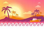 Tropical warm summer ocean palm tree background.