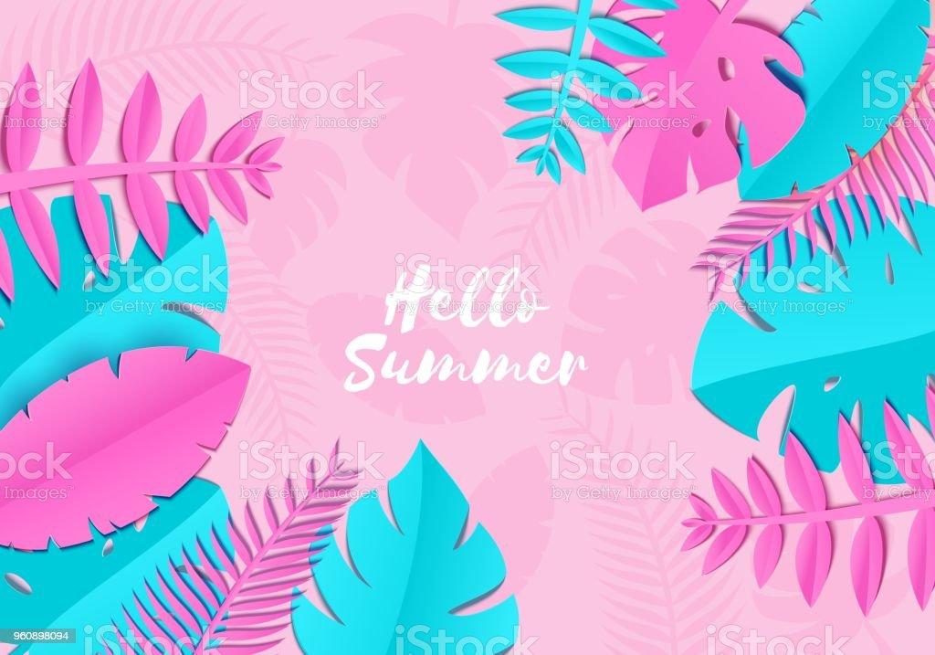 Tropischer Sommer Palmblätter, Pflanzen in Sher Papier schneiden Stil. Exotische blau rosa Blätter auf hellrosa Hintergrund hawaiianischen Sommer. Vektor-Karte-Illustration. - Lizenzfrei Ast - Pflanzenbestandteil Vektorgrafik