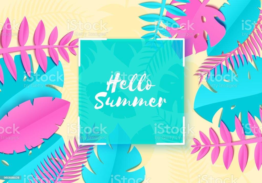 Tropischer Sommer Palmblätter Pflanzen In Sher Papier Schneiden Stil ...