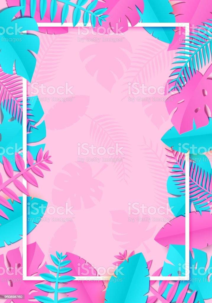 Tropischer Sommer Palmblätter, Pflanzen in Sher Papier schneiden Stil. Weißen vertikalen rechteckiger Rahmen auf exotische blau rosa Blätter auf rosa Hintergrund Hawaiian Sommerzeit. Vektor-Karte-Illustration. - Lizenzfrei Ast - Pflanzenbestandteil Vektorgrafik