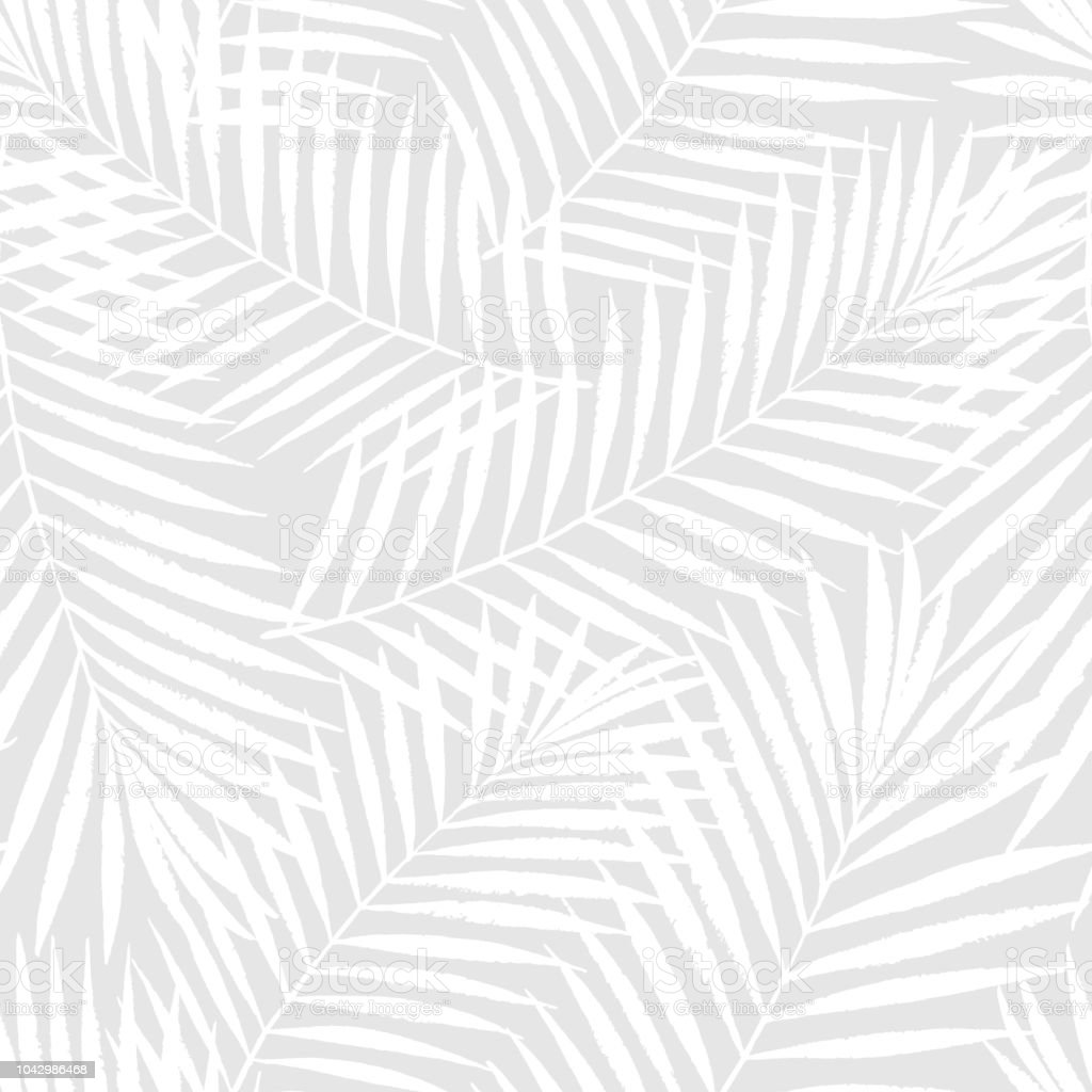 Summer tropical palm tree leaves seamless pattern. Vector grunge design for cards, web, backgrounds and natural product - Векторная графика Абстрактный роялти-фри
