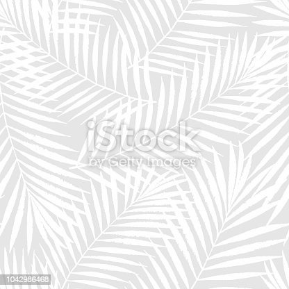 istock Summer tropical palm tree leaves seamless pattern. Vector grunge design for cards, web, backgrounds and natural product 1042986468