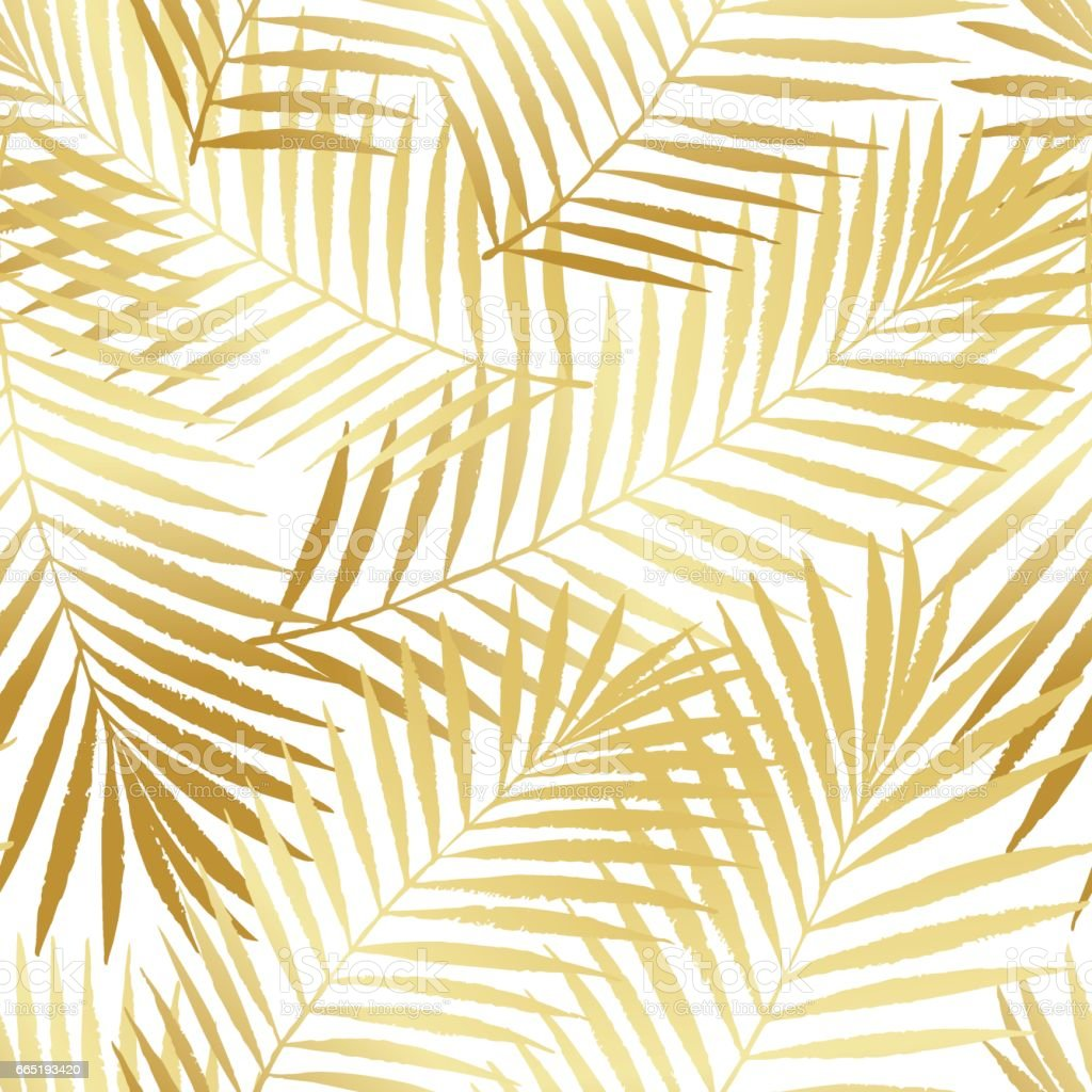 Summer Tropical Palm Tree Leaves Seamless Pattern Vector