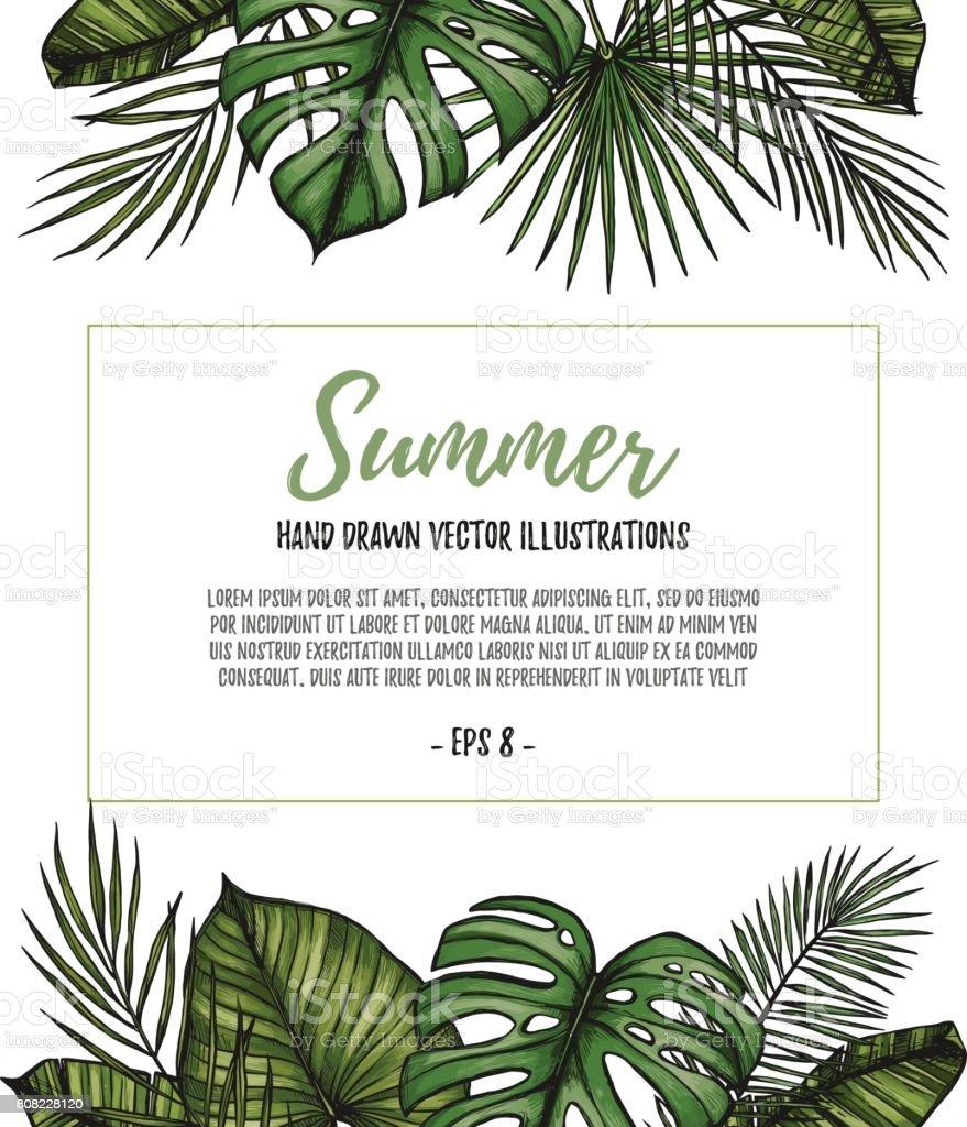 Ilustración de Plantilla De La Postal Tropical De Verano Marco Palma ...