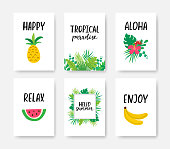 Summer tropical poster A4 set with hand drawn lettering. Summer vacation banner. Creative tropical design for web or advertisement. Vector illustration.