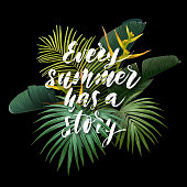 Summer tropical poster with sabal and banana palm leaves, exotic strelitzia flowers and handdrawn integrated inscription with 3d effect. Vector illustration