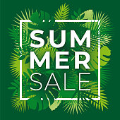 Summer tropical sale banner with palm leaves and exotic plants. - Illustration