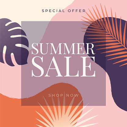 Summer tropical sale banner with palm leaves and exotic plants.