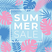 istock Summer tropical sale banner with palm leaves and exotic plants 973371368