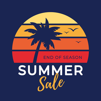 Summer tropical sale banner with palm tree silhouette and gradient background.