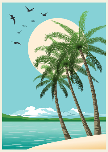 Summer Tropical Sunset With Palm Trees. Retro Background