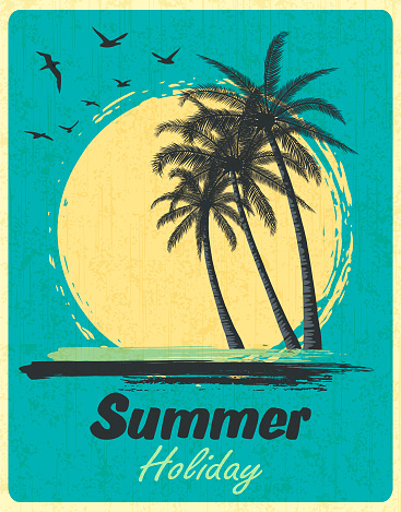 Summer Tropical Sunset With Palm Trees. Retro Grunge Background.
