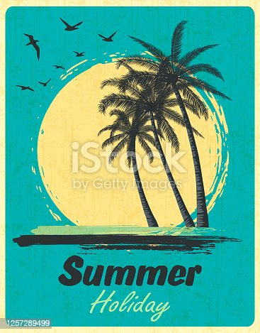 Sunset Sunrise with Beach Palm Trees of Ocean Island. Retro Summer Poster in Old Design Style.