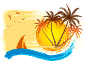 Summer Tropical Island With Palm Trees. Tropical grunge background.