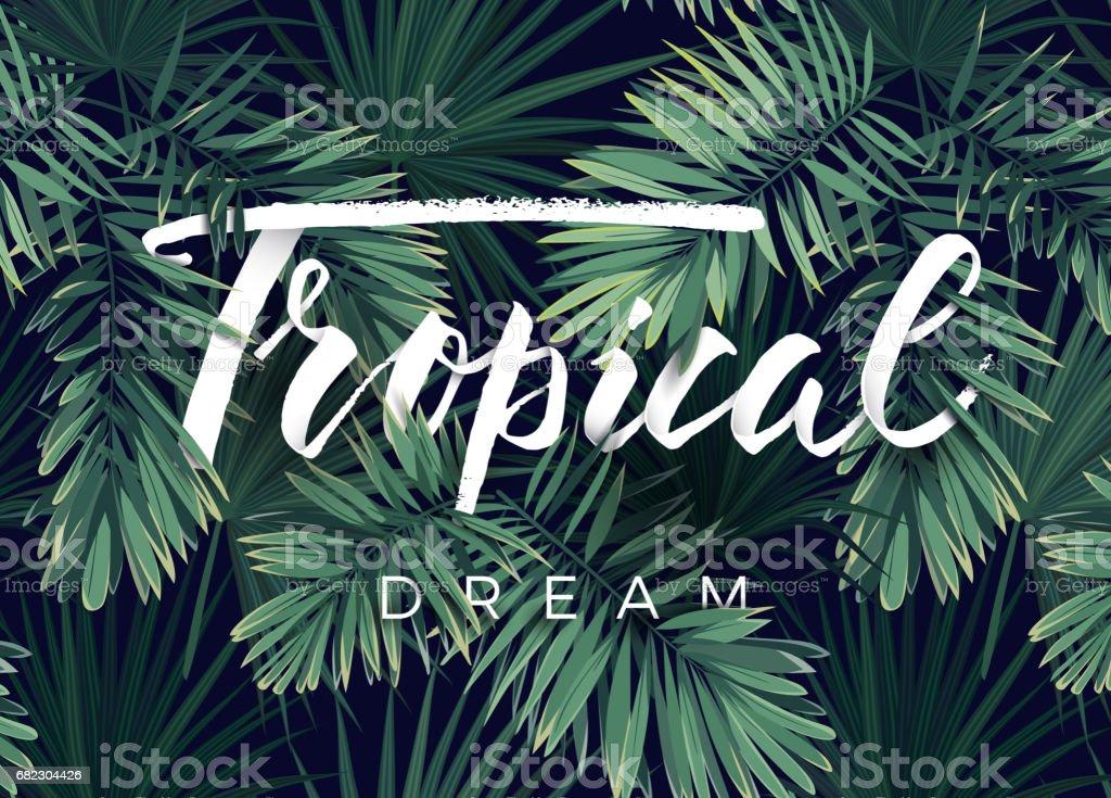 Projeto de verão tropical vetor para banner ou panfleto com folhas de palmeira verde escuro e letras - ilustração de arte em vetor