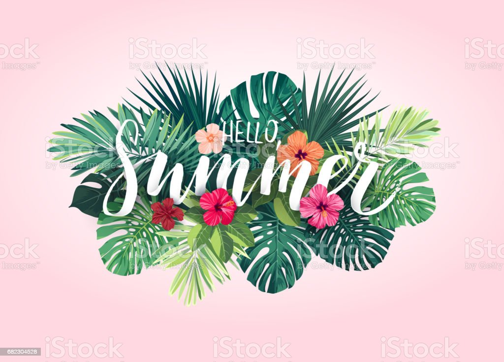 Summer tropical vector design for banner or flyer with exotic palm leaves, hibiscus flowers and handlettering