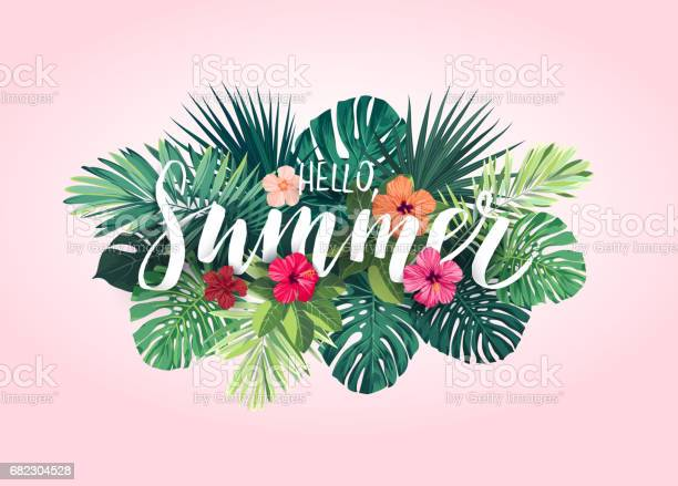 Summer Tropical Vector Design For Banner Or Flyer With Exotic Palm Leaves Hibiscus Flowers And Handlettering Stock Illustration - Download Image Now