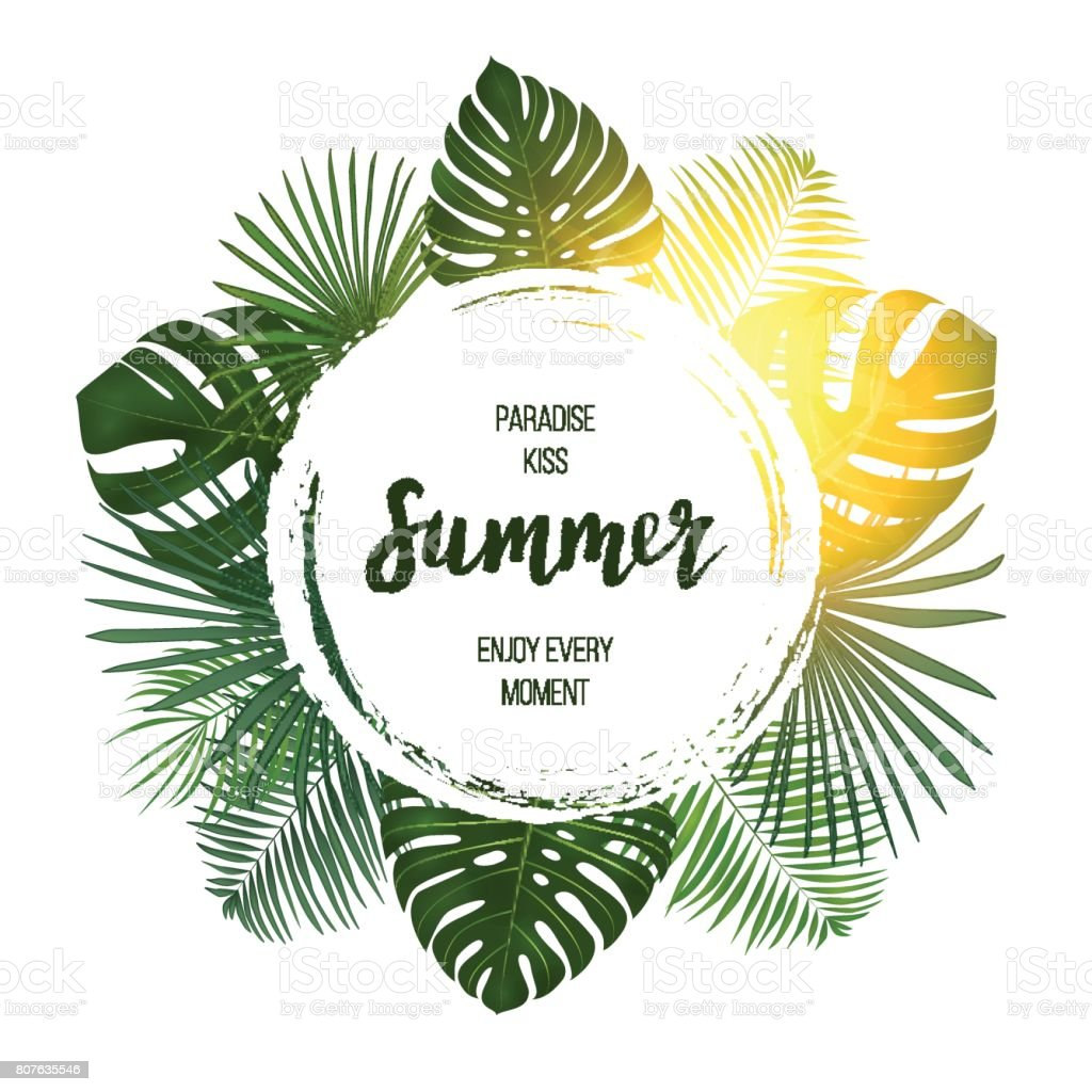 Summer tropical vector design for banner or flyer with  green palm leaves and lettering. vector art illustration