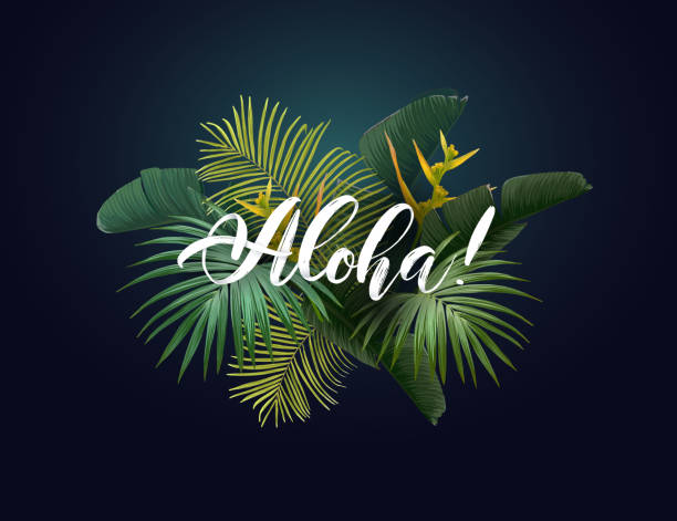 Summer tropical vector design with exotic green palm leaves, flowers and handlettering on the dark background. Summer tropical vector design with exotic green palm leaves, flowers and handlettering on the dark background. big island hawaii islands stock illustrations