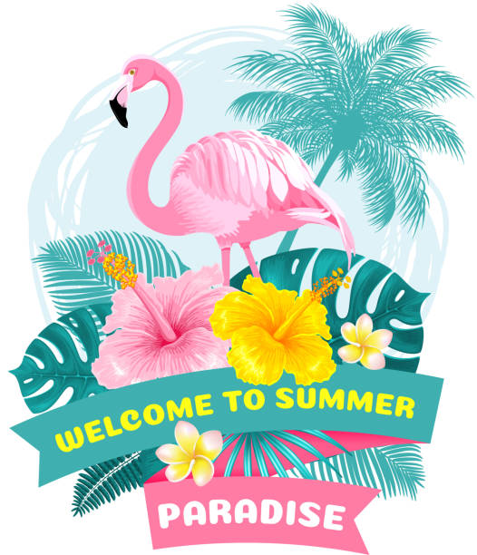 Summer Tropical Welcome Label Summer tropical welcome label design with pink flamingo, exotic leaves and flowers. Cartoon Vector illustration. idyllic stock illustrations