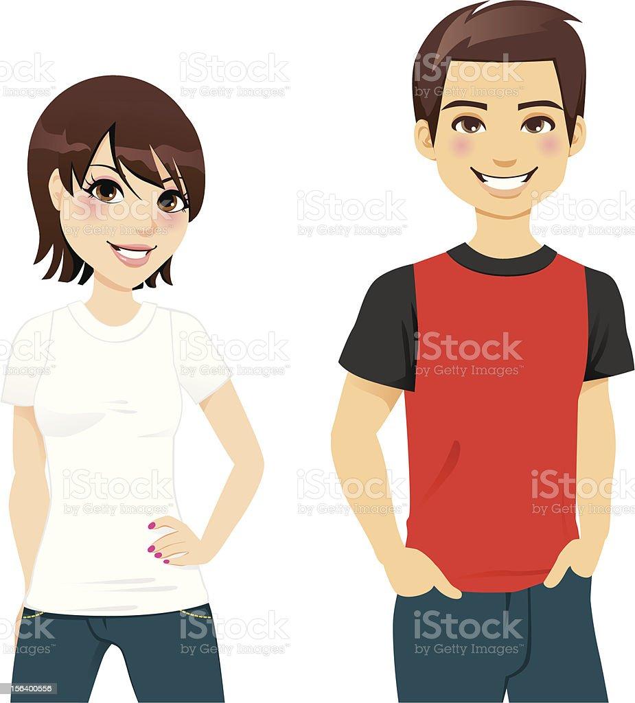 夏の t シャツのカップル のイラスト素材 156400556 | istock