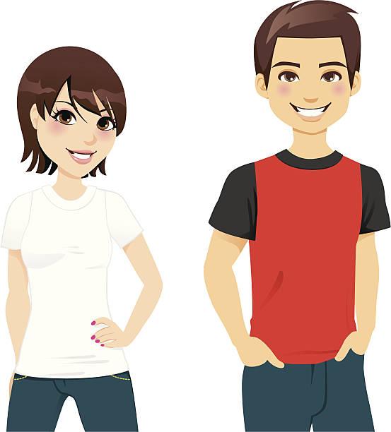 ilustrações, clipart, desenhos animados e ícones de camiseta de verão casal - moda urbana