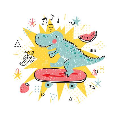 Summer T-shirt print design for kids fashion with Cute Dinosaur. Hand drawn doodle Dinosaur Skater. Cartoon Animal vector illustration