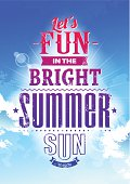 Summer typography on blue sky