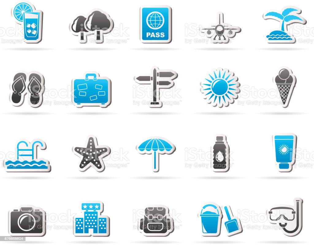 summer, vacation and beach icons vector art illustration