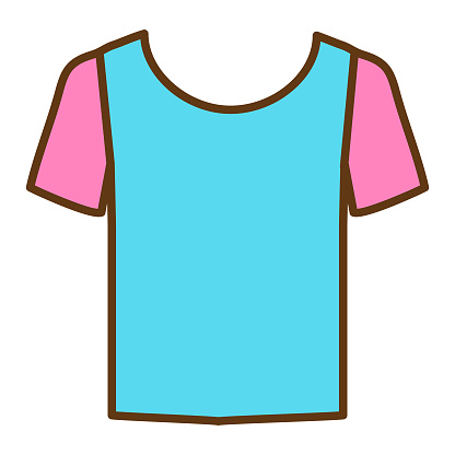 Summer vacation and leisure short sleeve t-shirt full color icon