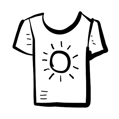 Summer vacation and leisure short sleeve t-shirt hand drawn Icon