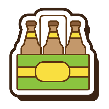 Summer vacation and leisure six pack of beer full color icon