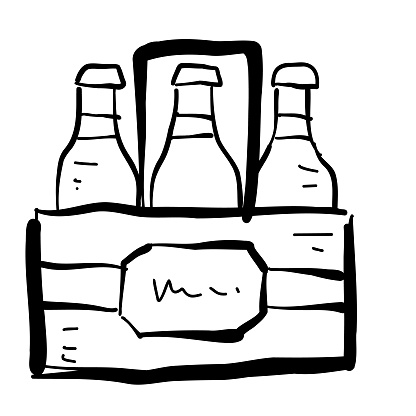 Summer vacation and leisure six pack of beer hand drawn Icon