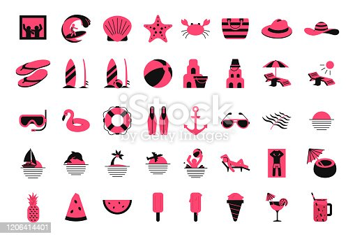 Summer vacation and outdoor on the beach stuff line elements for web. Set summer beach icons flat styles.