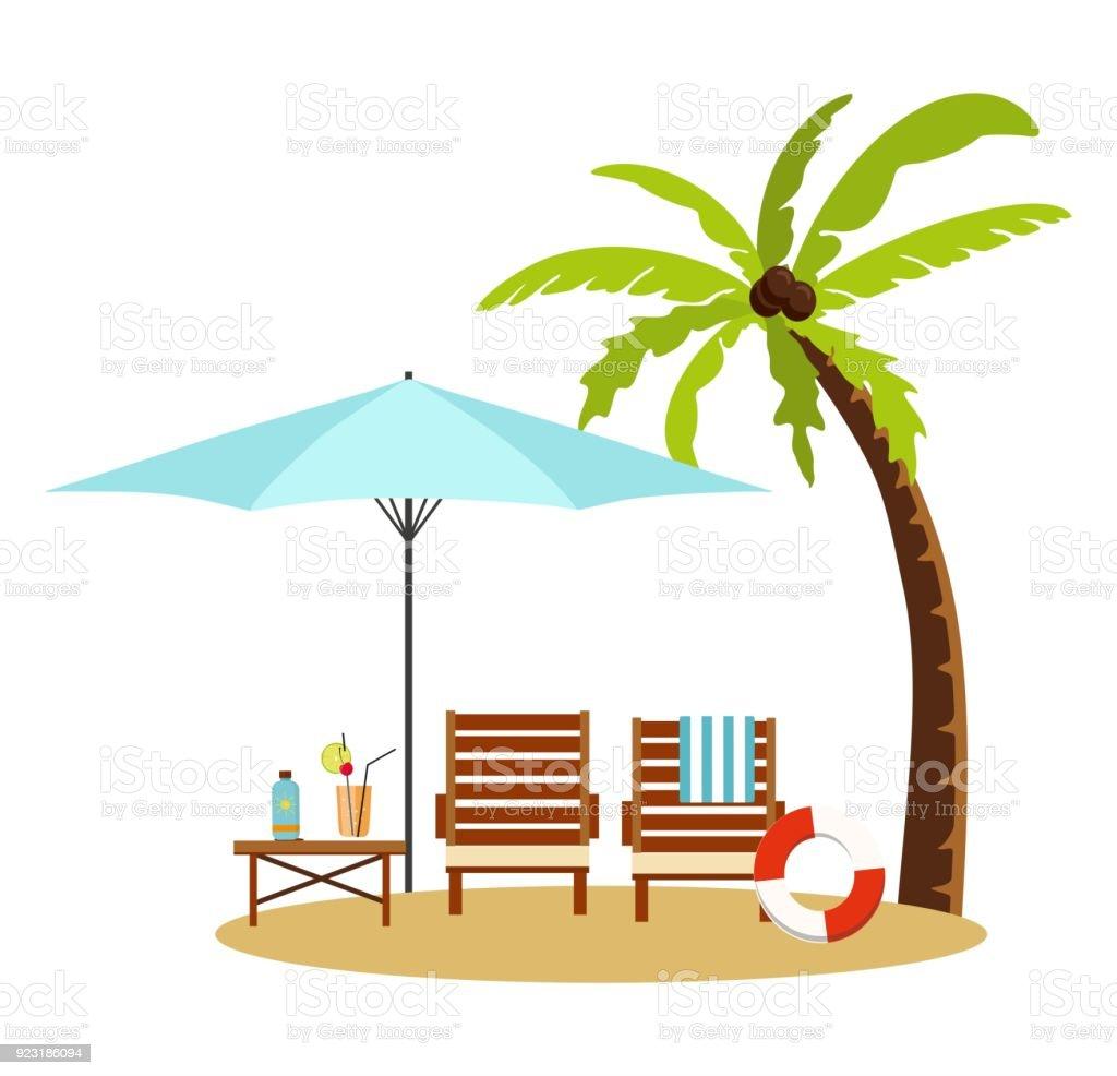 Sonnenschirm strand clipart  Sommerurlaub Und Tourismus Liege Und Sonnenschirm Am Strand Stock ...
