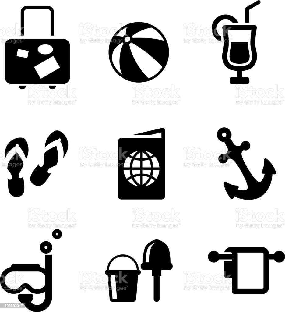 Summer vacation and travel icons vector art illustration