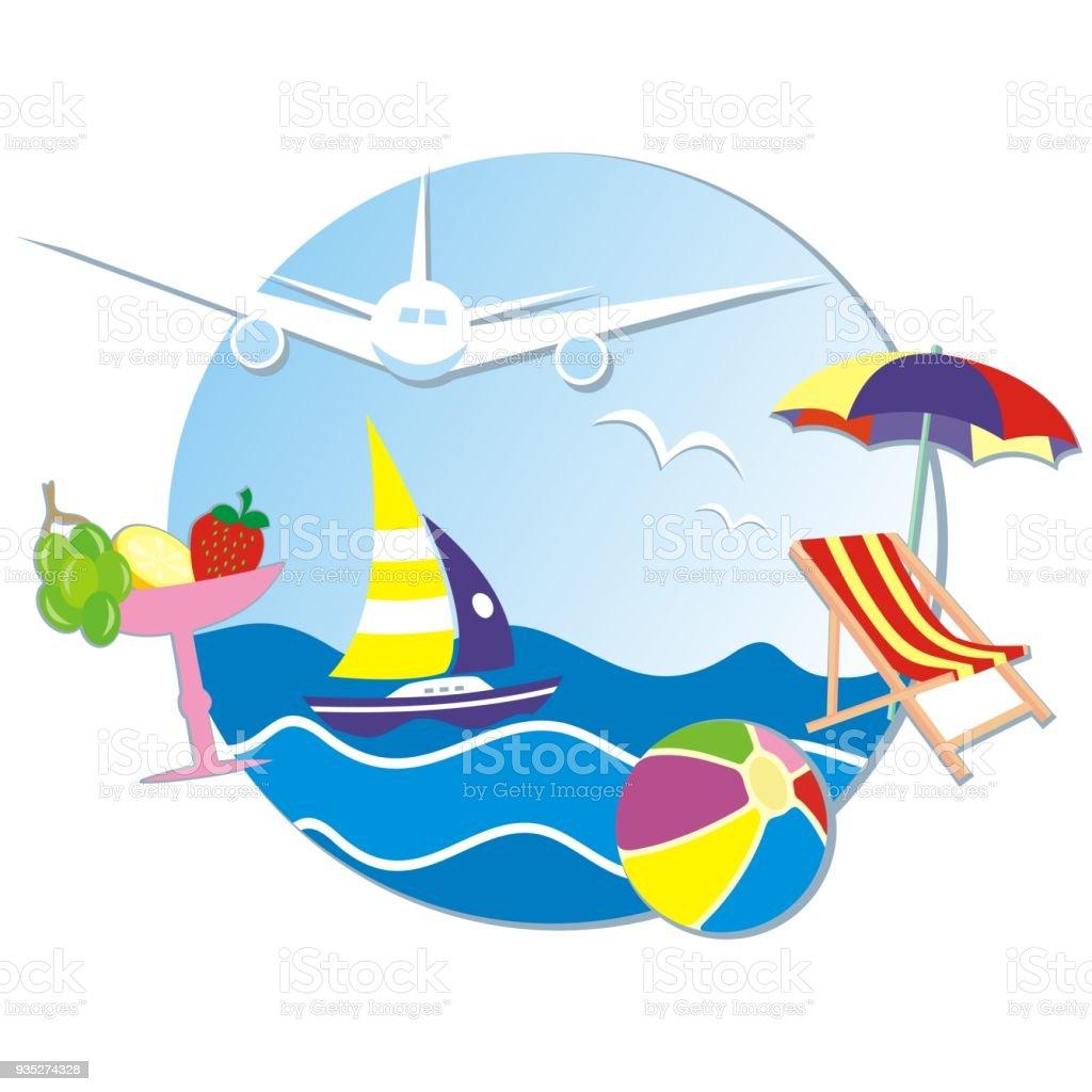 Liegestuhl mit sonnenschirm clipart  Sommerurlaub Banner Meer Segelboot Flugzeug Liegestuhl Und ...