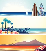 3 summer vacation banners with surf boards, tropical flowers & palm trees. Each placed on its separate layer for easy editing.