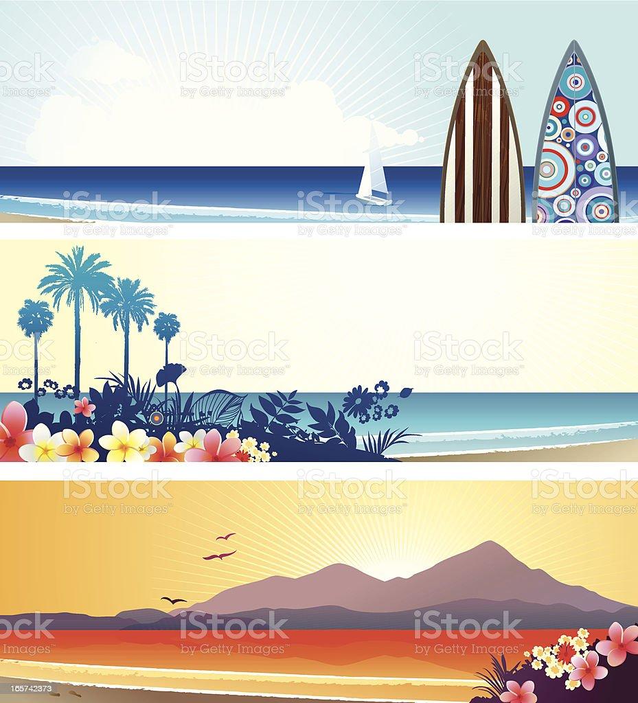Summer vacation banners vector art illustration