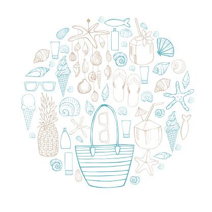 Summer vacation. Beach bag, Seashell Mobile, shells. Vector illustration.