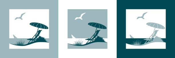 sommerurlaub mit dem meer-vektor-symbol - ostsee stock-grafiken, -clipart, -cartoons und -symbole